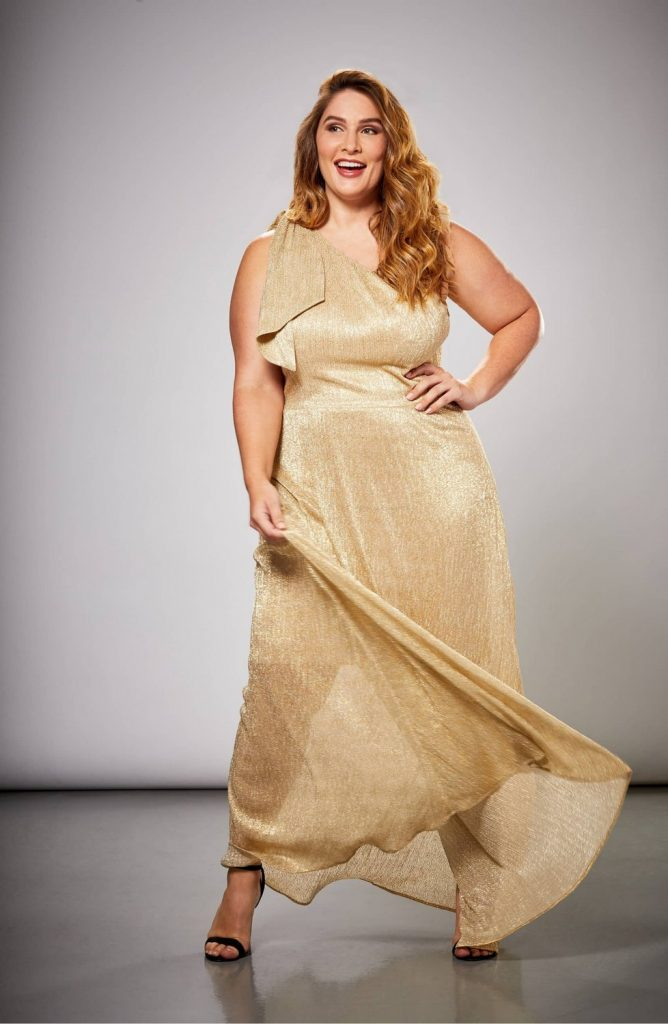 Dress the Population Savannah One-Shoulder Plus Size Gown