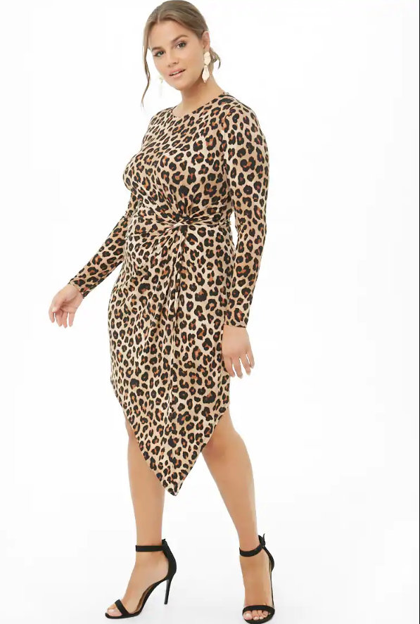 Love a Plus Size Leopard Print, then Check These Out- Asymmetrical Leopard Print Twist-Waist Dress