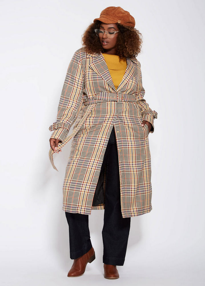 31dd49d0a99 Fall s Bold Hued and Non Black Plus Size Coats to rock- Menswear Plaid Plus  Size