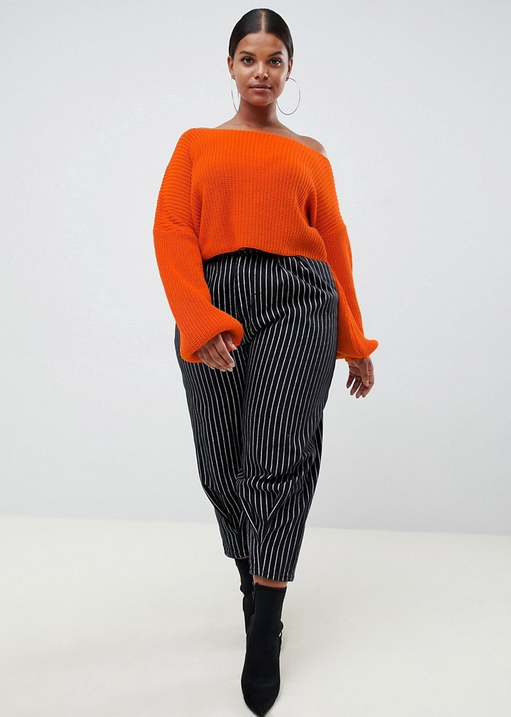 Cute Plus Size Sweaters for Fall- Missguided Plus Bardot Sweater in Orange