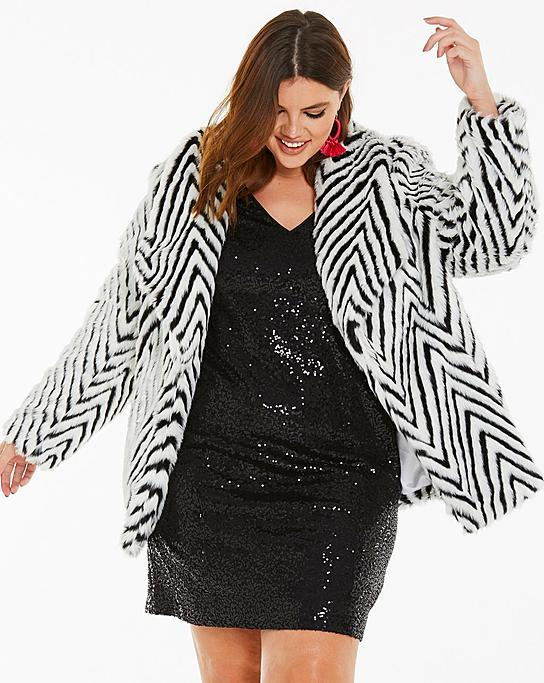 c43adf06fbe Fall s Bold Hued and Non Black Plus Size Coats to rock- Mono Print Fur Coat