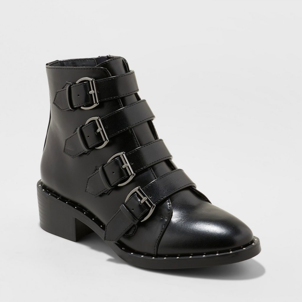 13 Must Rock Wide Width booties for the Fall- Nikko Faux Leather Studded Combat Wide Width Ankle Boot