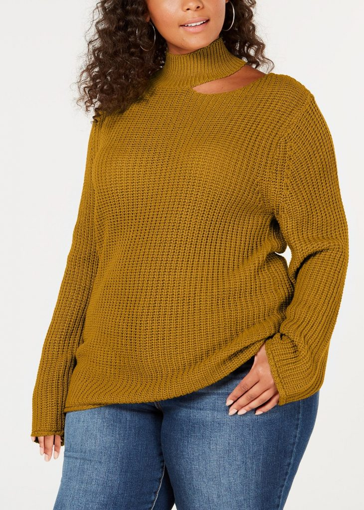 Cute Plus Size Sweaters for Fall- Planet Gold Trendy Plus Size Cutout Sweater