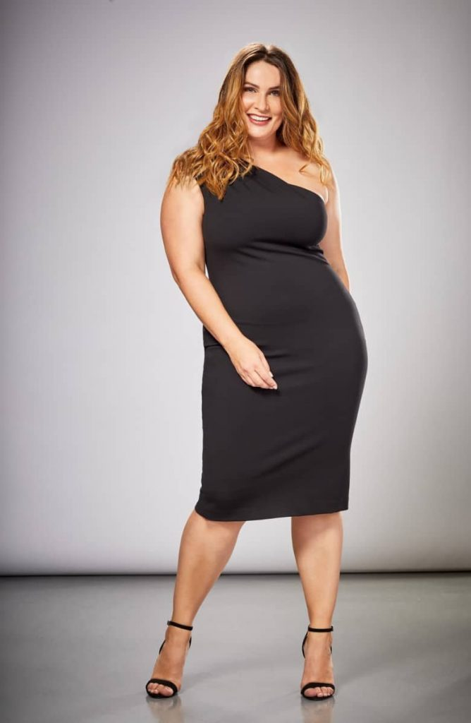 Dress the Population in Plus Sizes- Quinn One-Shoulder Ponte Knit Plus Size Cocktail Sheath