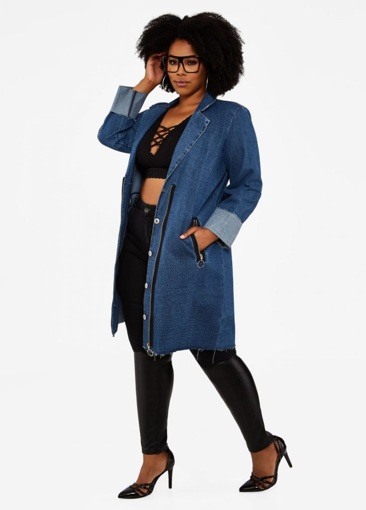 Rolled Cuff Long Denim Coat at Ashley Stewart