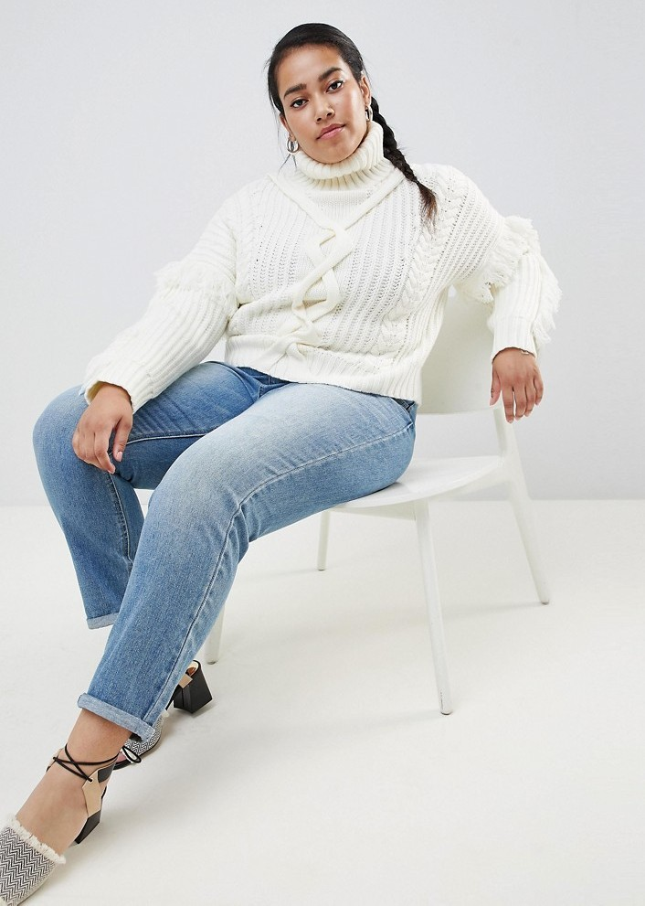 Cute Plus Size Sweaters for Fall- Urban Bliss Plus Cable Knit Roll Neck with Tassle Detail