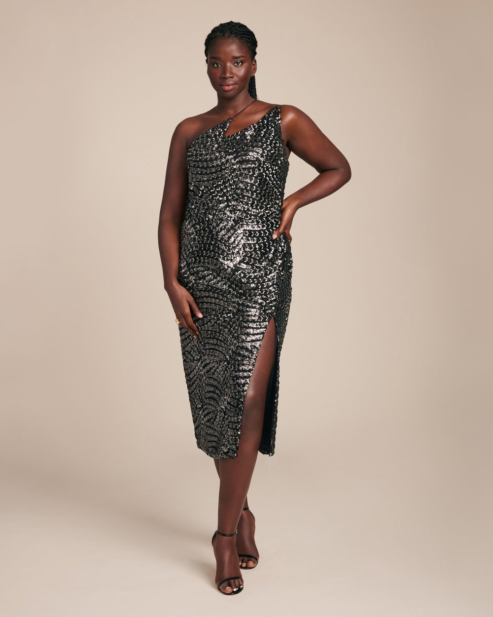 Luxury Plus SIze Fashion Finds at 11 Honore: CHRISTIAN SIRIANO Black & Silver Sequin Zig Zag Plus Size Dress