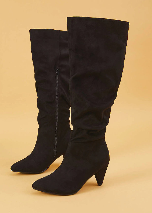 Lane Bryant Plus Size Cold Weather Fashion Finds- Faux Suede Tall Slouch Heeled Boot