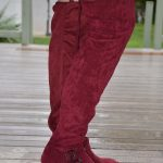 35+ Fall Wide calf boots to rock now- MEGHAN Burgundy Wide Calf Over-the-Knee Boots