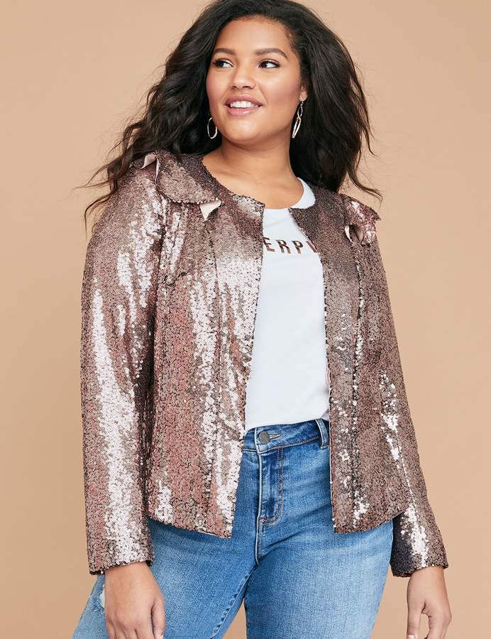 Chic Lane Bryant Gold Sequin Jacket Available in sizes 14 - 28
