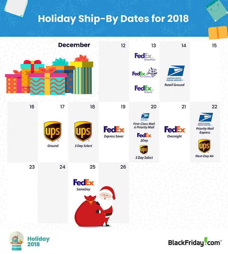 2018 Holiday Ship-by Dates from BlackFriday.com