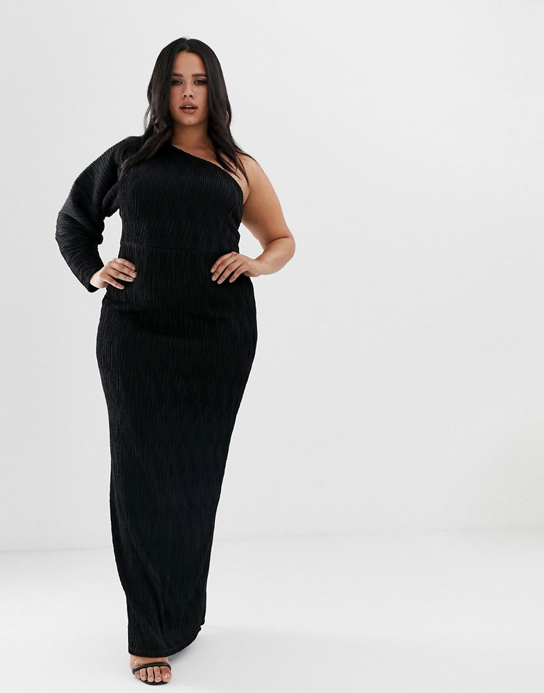 Plus Size Holiday Dresses Under $100- ASOS DESIGN Curve one sleeve rib maxi dress
