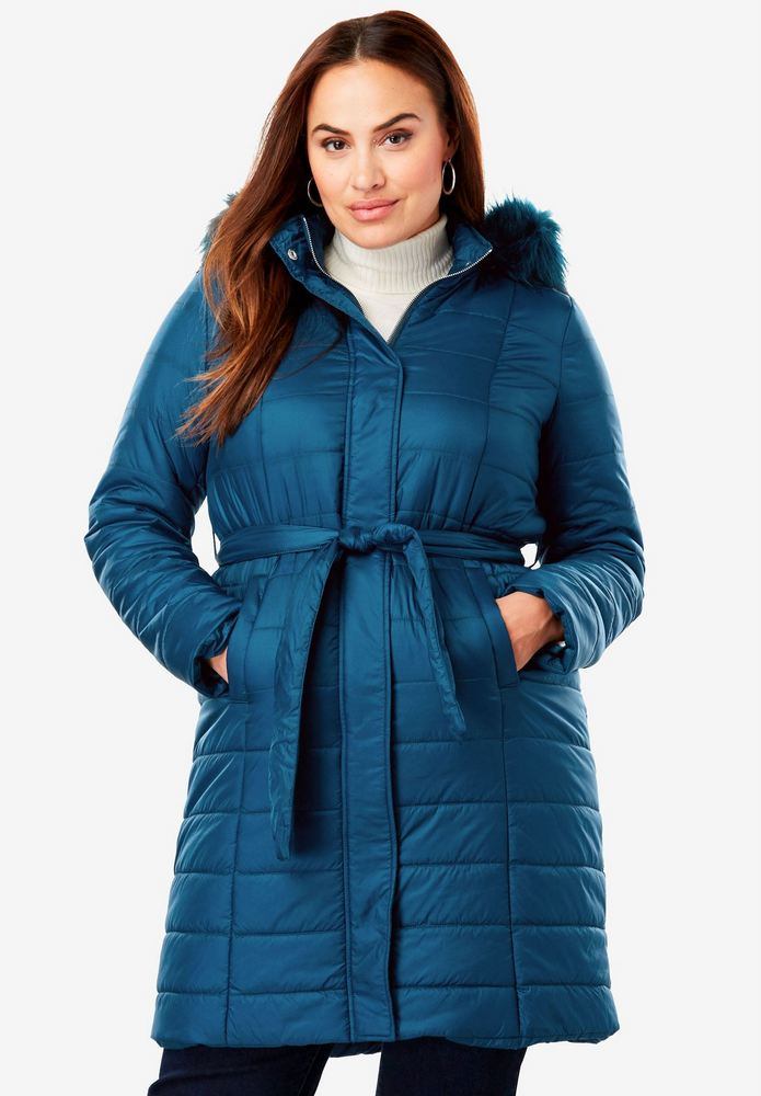 25 Must Rock Plus Size Puffer Coats- Belted Puffer Coat