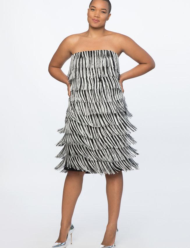 Black and White Fringe Strapless Dress
