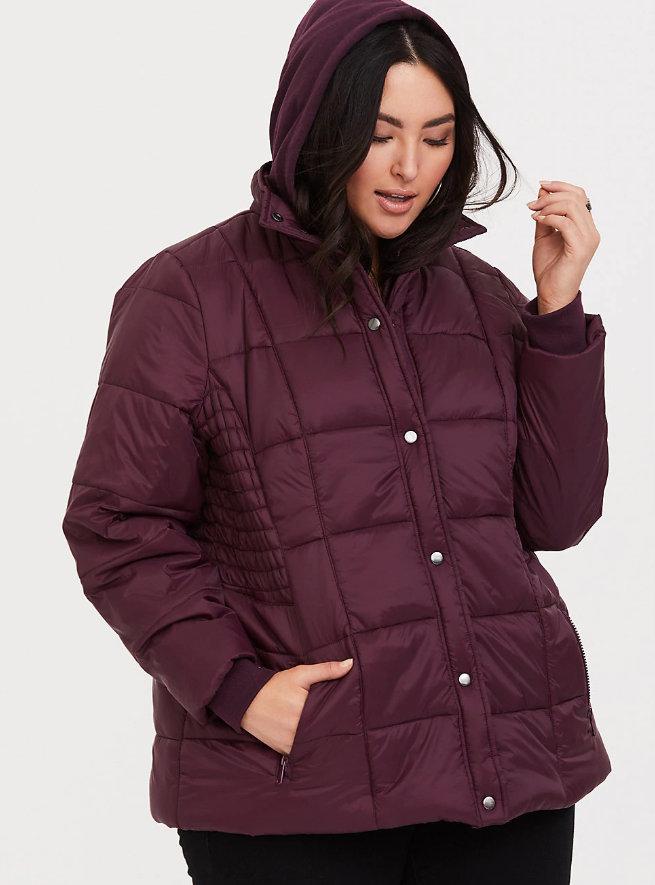 25 Must Rock Plus Size Puffer Coats- Burgundy Nylon Puffer Jacket