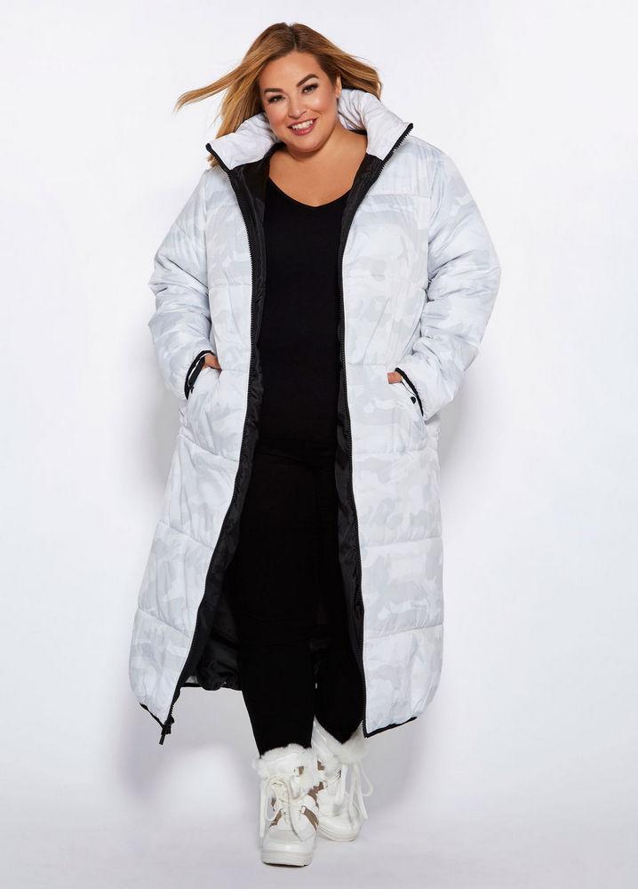 25 Must Rock Plus Size Puffer Coats- Camo Cocoon Maxi Coat