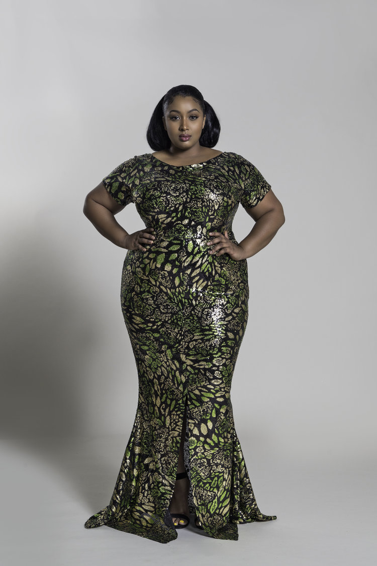 The Best Plus Size Sequins Finds for New Yea's Eve: Cap-Sleeve Green Gold and Black Sequin Mermaid Gown