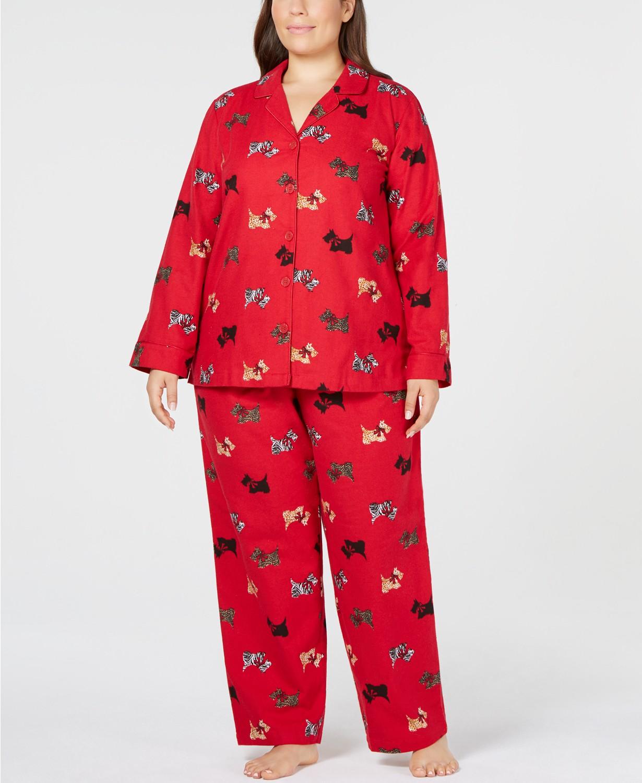 Charter Club Plus Size Cotton Flannel Pajama Set