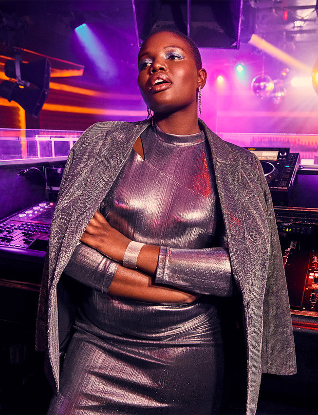 Eloquii Holiday Foil Bodycon Dress with Mock Neck & Metallic Blazer