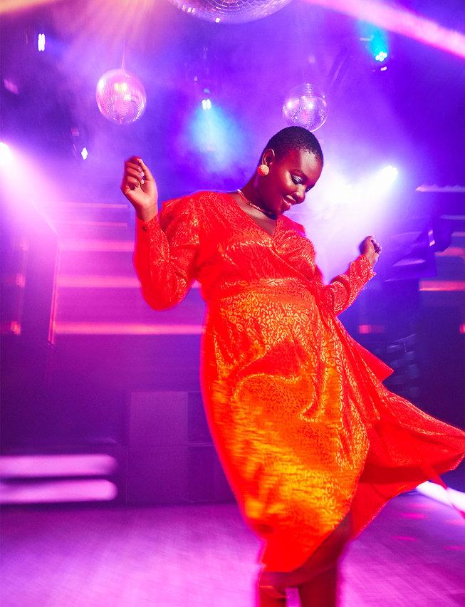 Eloquii Holiday Satin Wrap Dress with Puff Sleeve