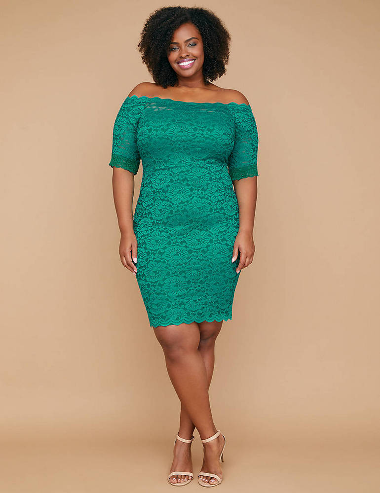 Plus Size Holiday Dresses Under $100- Fast Lane Built-In Smoothing Slip Off-The-Shoulder Lace Sheath Dress