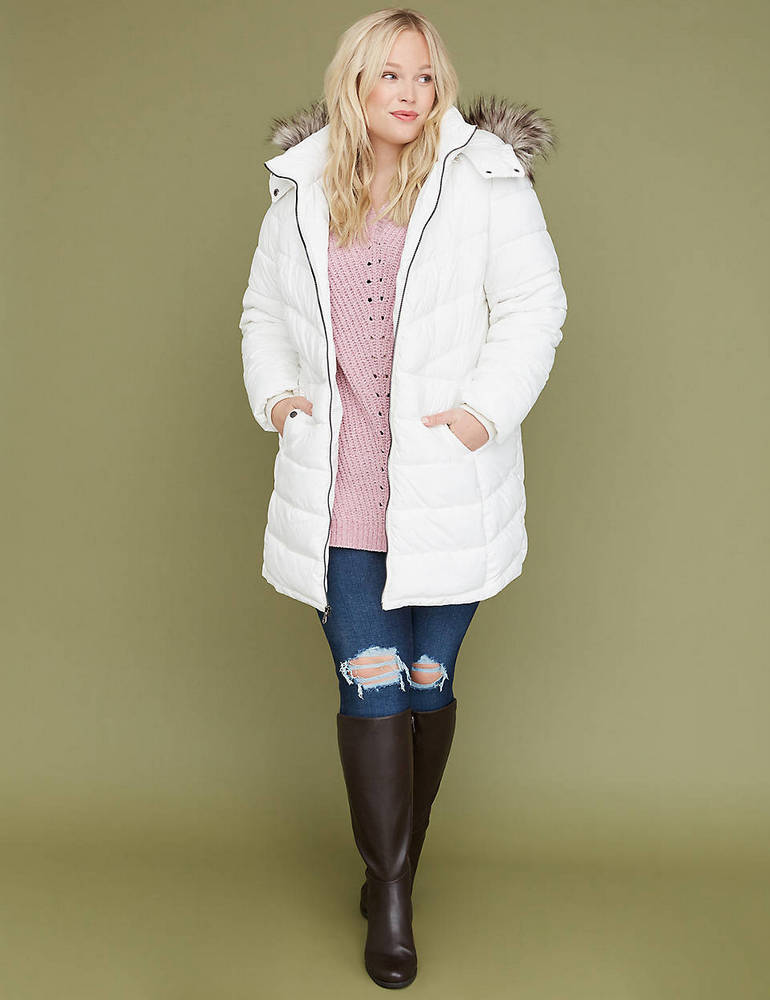 25 Must Rock Plus Size Puffer Coats- Fur-Trim Hooded Puffer Jacket