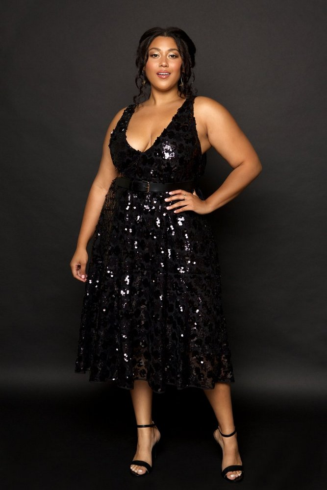 Plus Size Holiday Dresses Under $100- Halley Sequin Dress