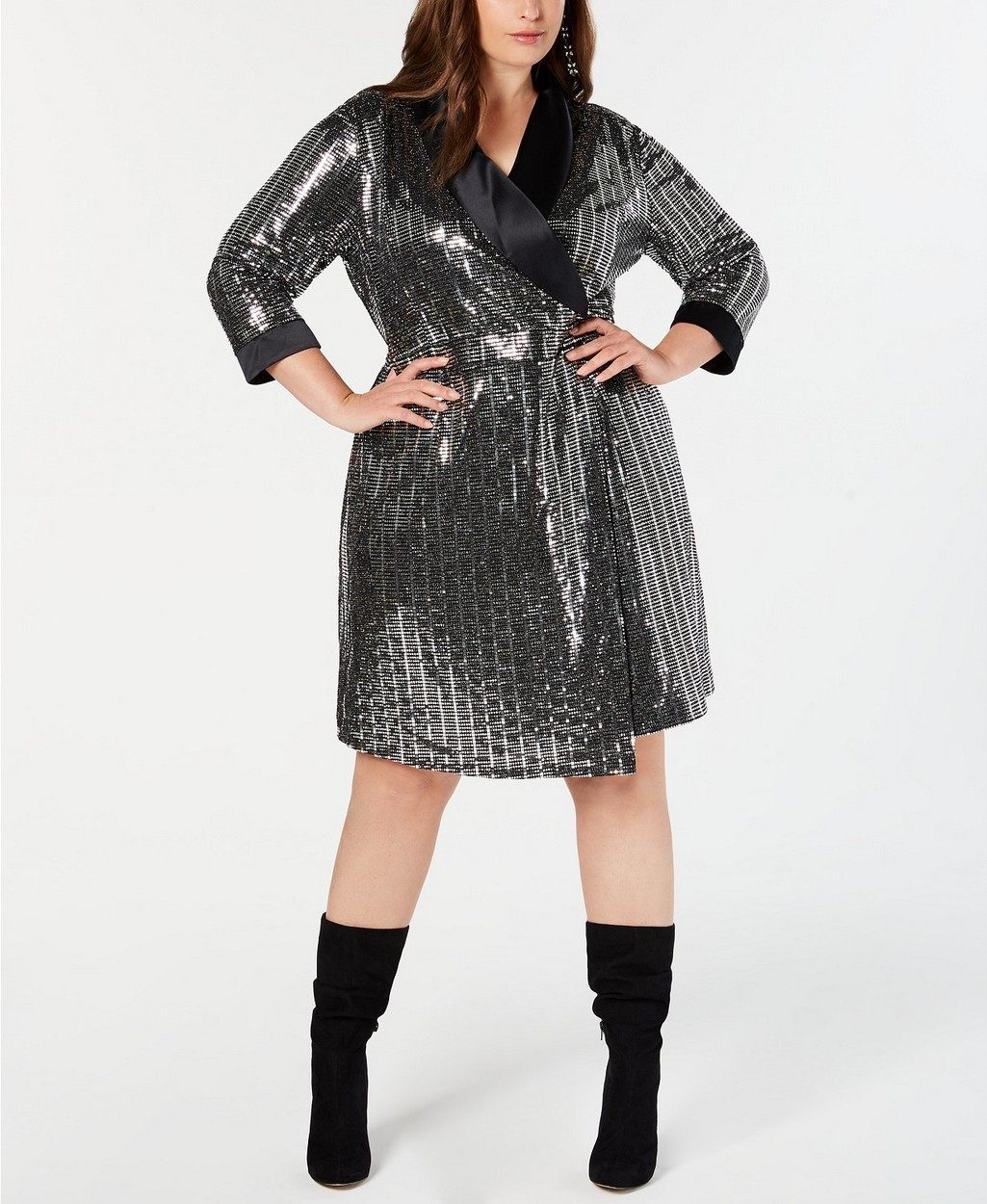 The Best Plus Size Sequins Finds for New Yea's Eve: High neck drape armhole midi dress in all over sequin by ASOS DESIGN Curve