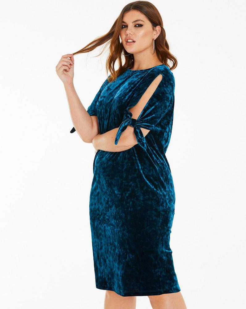 Plus Size Holiday Dresses Under $100- Joanna Hope Velour Tie Sleeve Dress