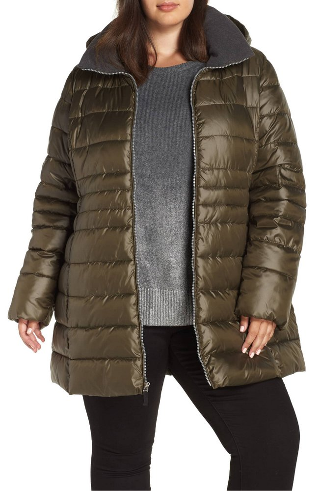 25 Must Rock Plus Size Puffer Coats- Marc New York Removable Hood Puffer Coat