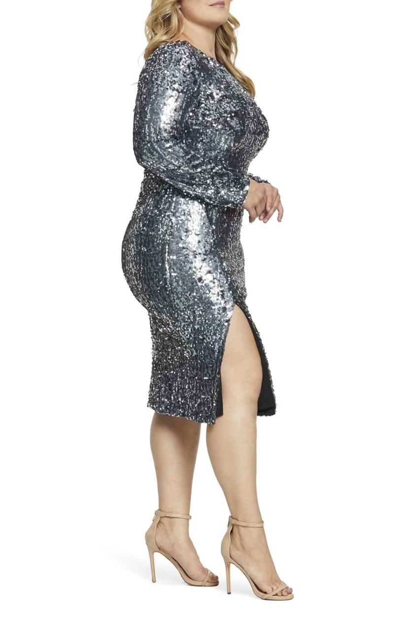 The Best Plus Size Sequins Finds for New Yea's Eve: Natalie Front Slit Sequin Cocktail Sheath