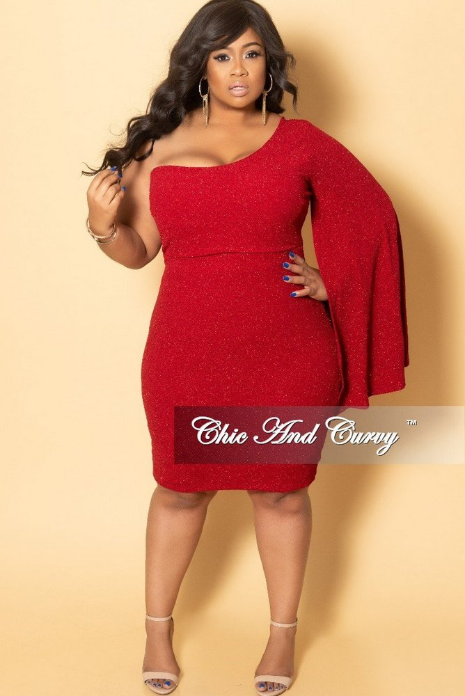 Plus Size Holiday Dresses Under $100- One Sided Bell Sleeve Shimmer BodyCon Dress in Red