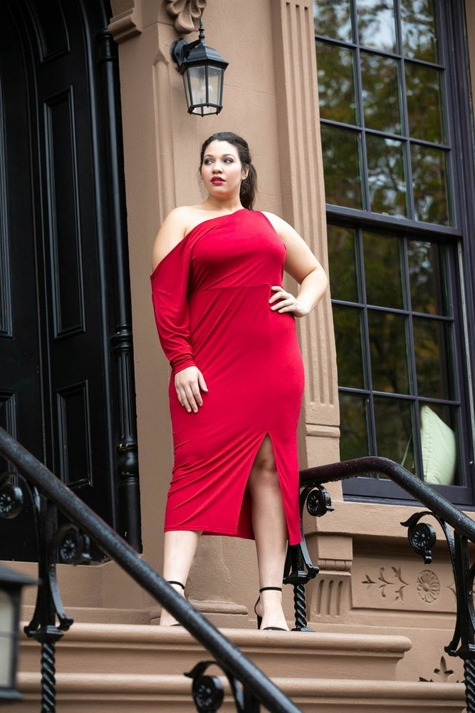 Plus Size Holiday Dresses Under $100- Paint The Town Red Midi Dress