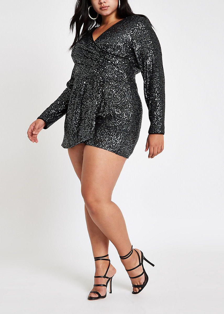 The Best Plus Size Sequins Finds for New Yea's Eve: Plus Dark Grey Sequin Wrap Front Romper