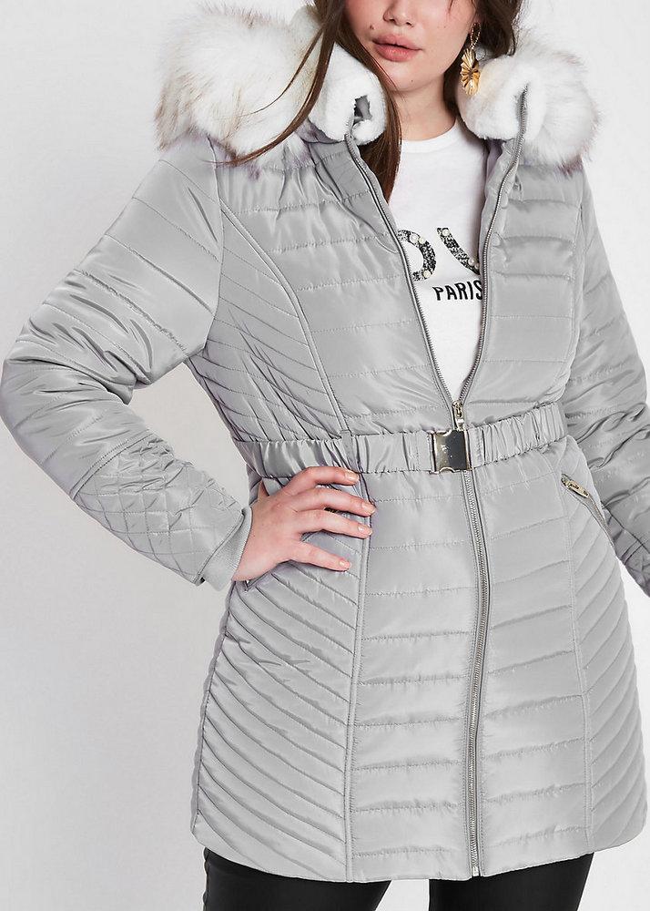 25 Must Rock Plus Size Puffer Coats- Plus Grey Faux Fur Belted Puffer Jacket