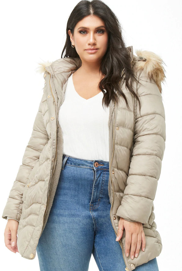 25 Must Rock Plus Size Puffer Coats-Plus Size Faux Fur-Trim Puffer Jacket