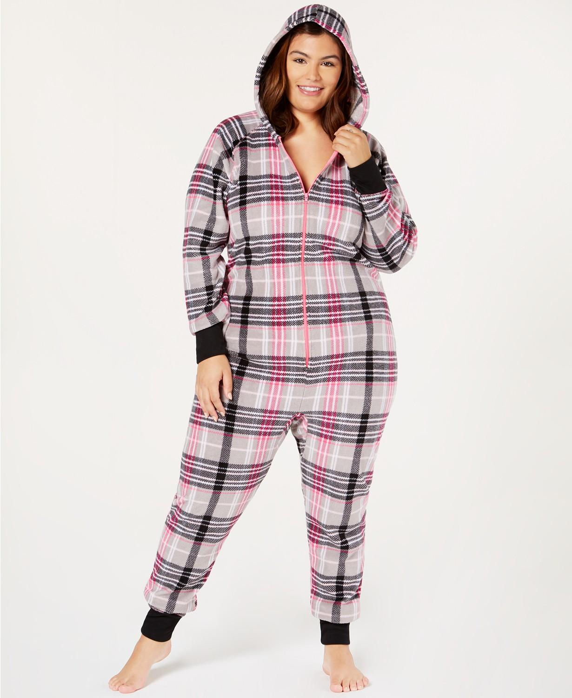 Plus Size Printed Hooded One-Piece Pajama