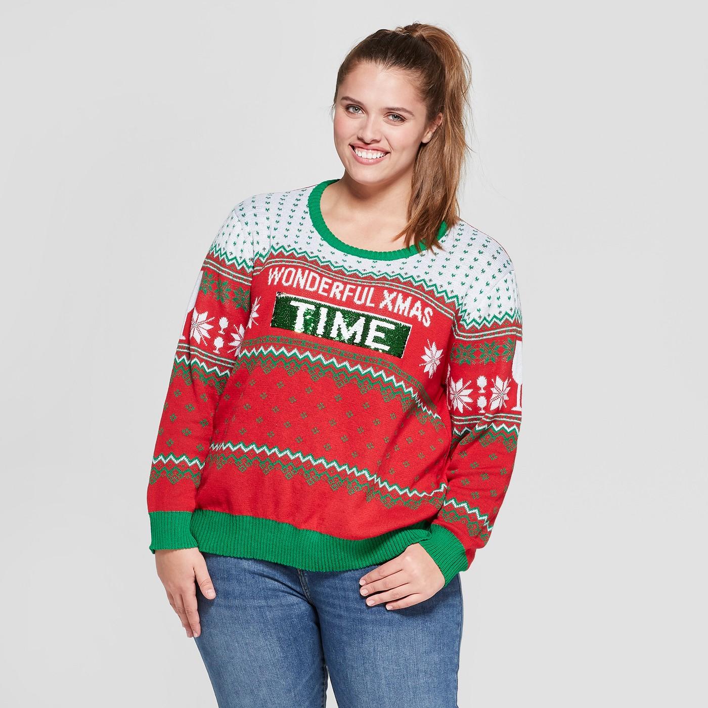Plus Size Wonderful Christmas Time/Wine Reversible Ugly Sweater