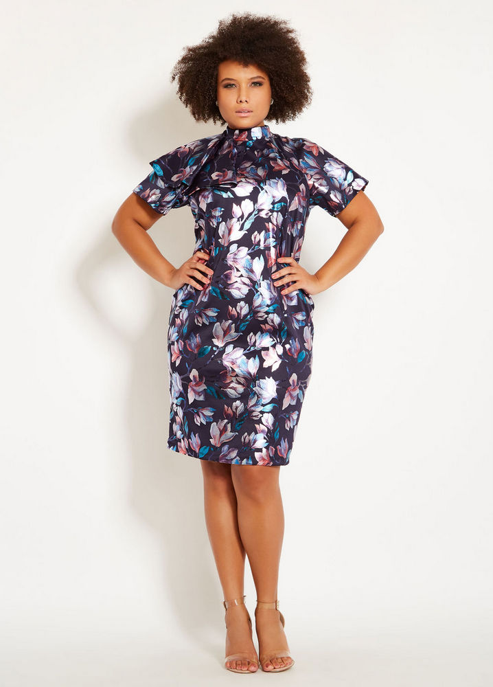 Plus Size Holiday Dresses Under $100- Ruffle Neck Floral Print Dress