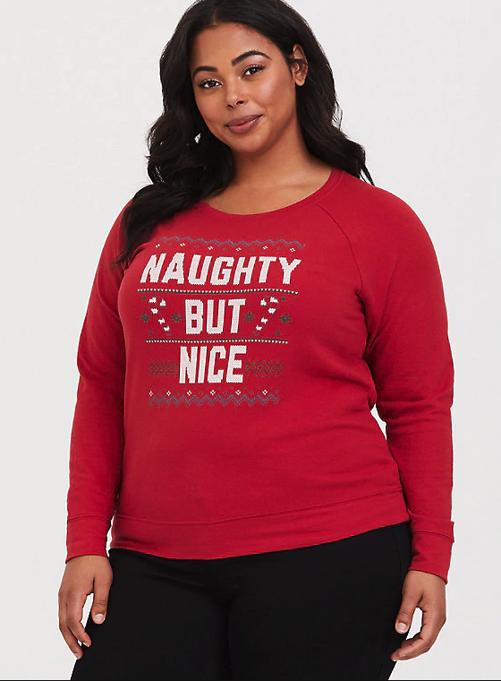 Naughty But Nice Holiday Plus Size Sweatshirt From Torrid