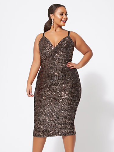 Plus Size Holiday Dresses Under $100- Tasha Sequin Knit Tank Dress