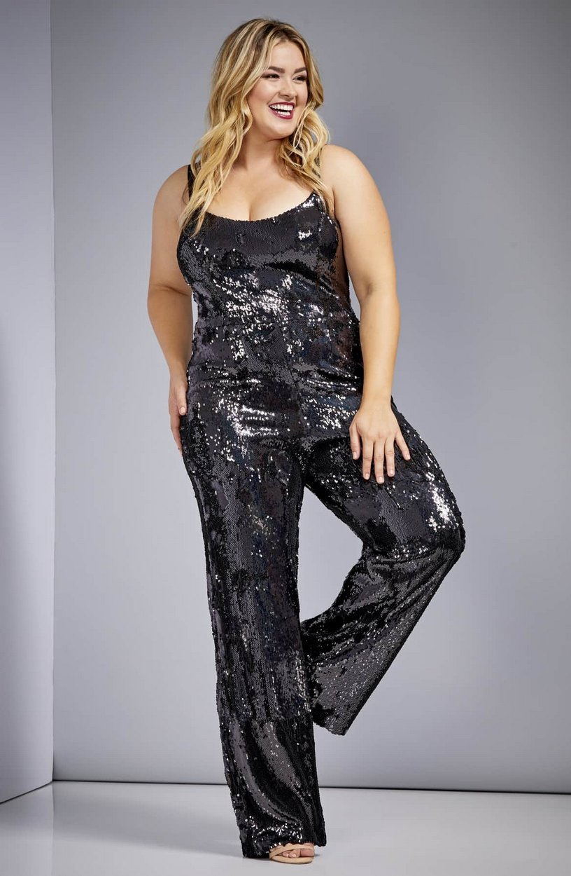 The Best Plus Size Sequins Finds for New Yea's Eve: Victoria Sequin Jumpsuit by Dress The Population