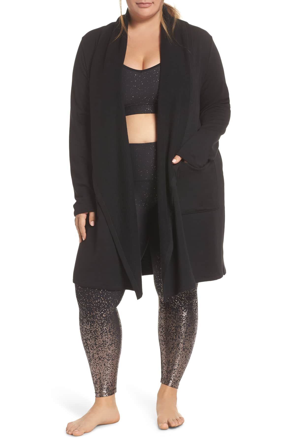 BEYOND YOGA Drape Long Cardigan and Ombre Leggings at Nordstrom
