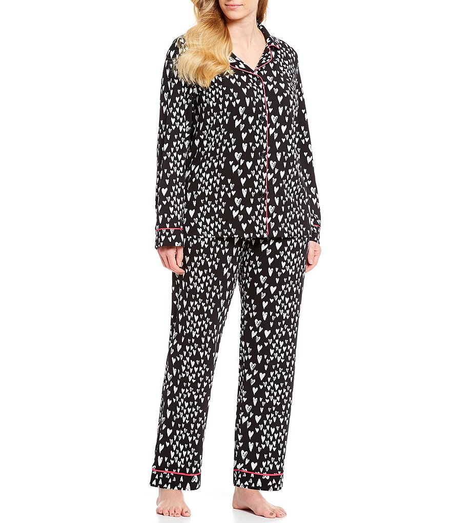 Plus Size Pajamas: BedHead Plus Wild Hearts Classic Woven Pajama Set