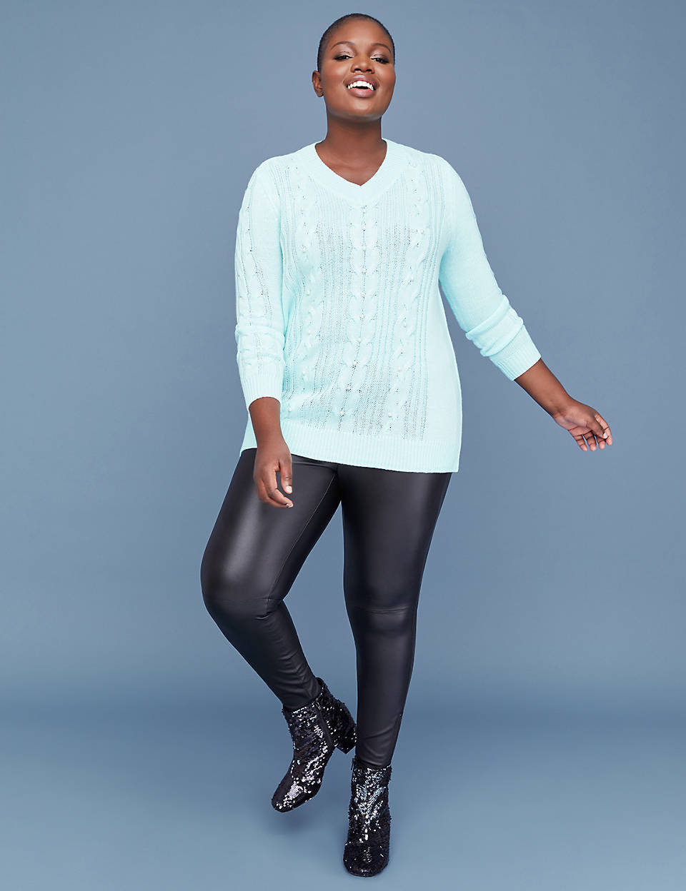 Plus Size Sweaters: Faux Pearl Cable Sweater