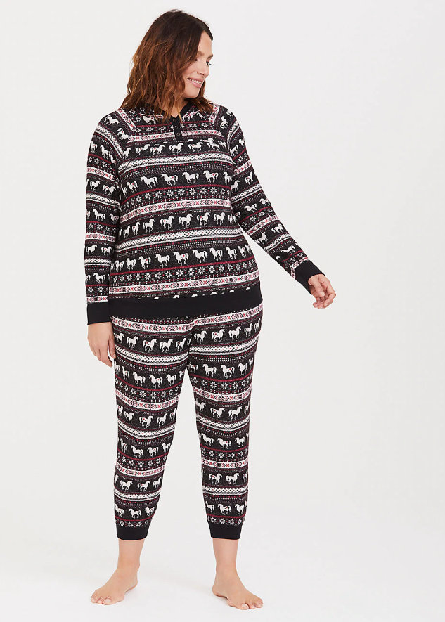 Fair Isle Pullover Sleep Hoodie & Fleece Sleep Jogger up through a 6X at Torrid.com
