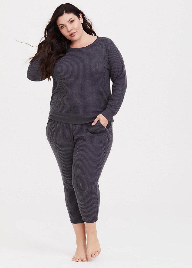 Plus Size Pajamas: Grey Waffle Knit Lounge Sweatshirt & Knit Lounge Pant up through a 6X at Torrid.com