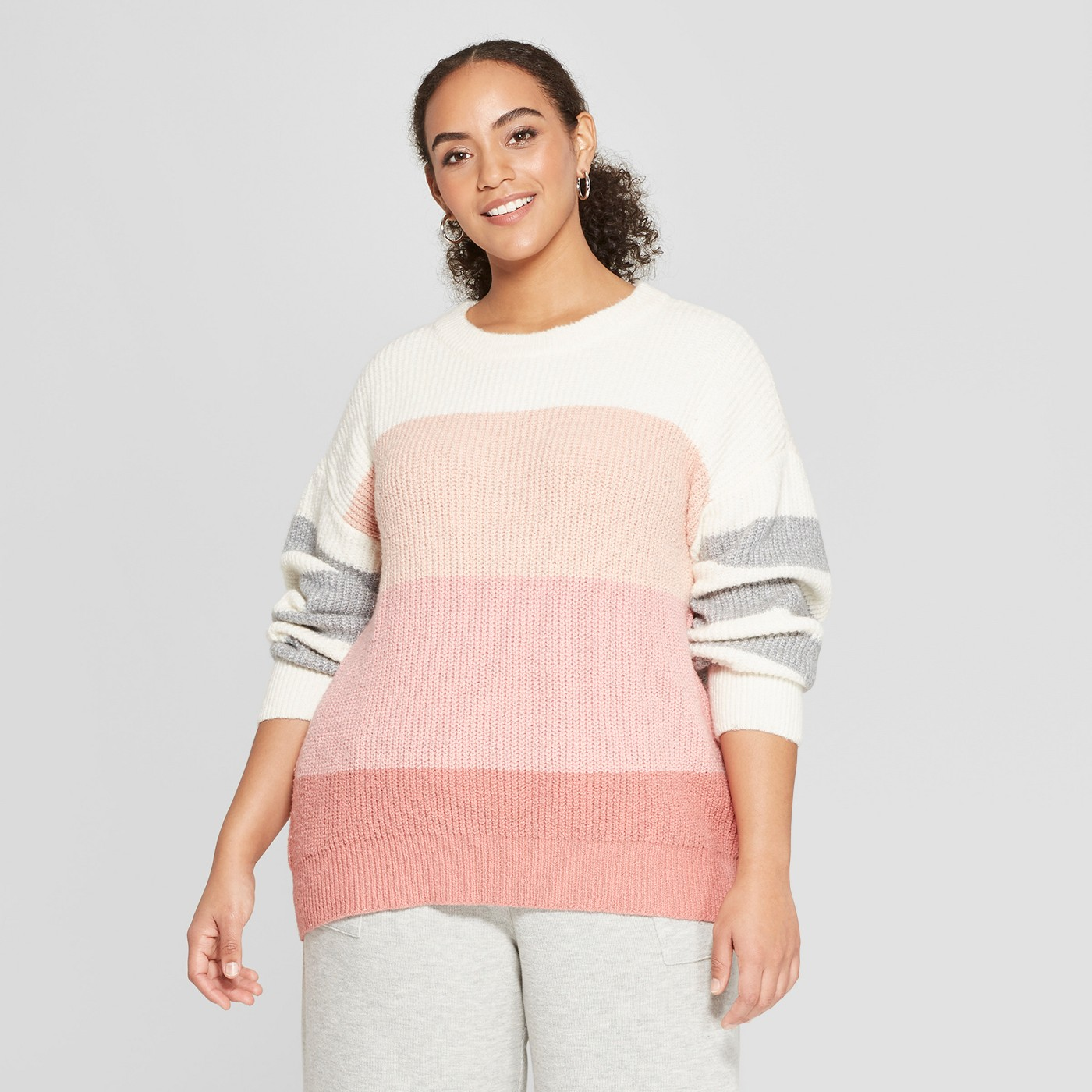 Plus Size Sweaters: Plus Size Striped Long Sleeve Crew Neck Tie Back Sweater