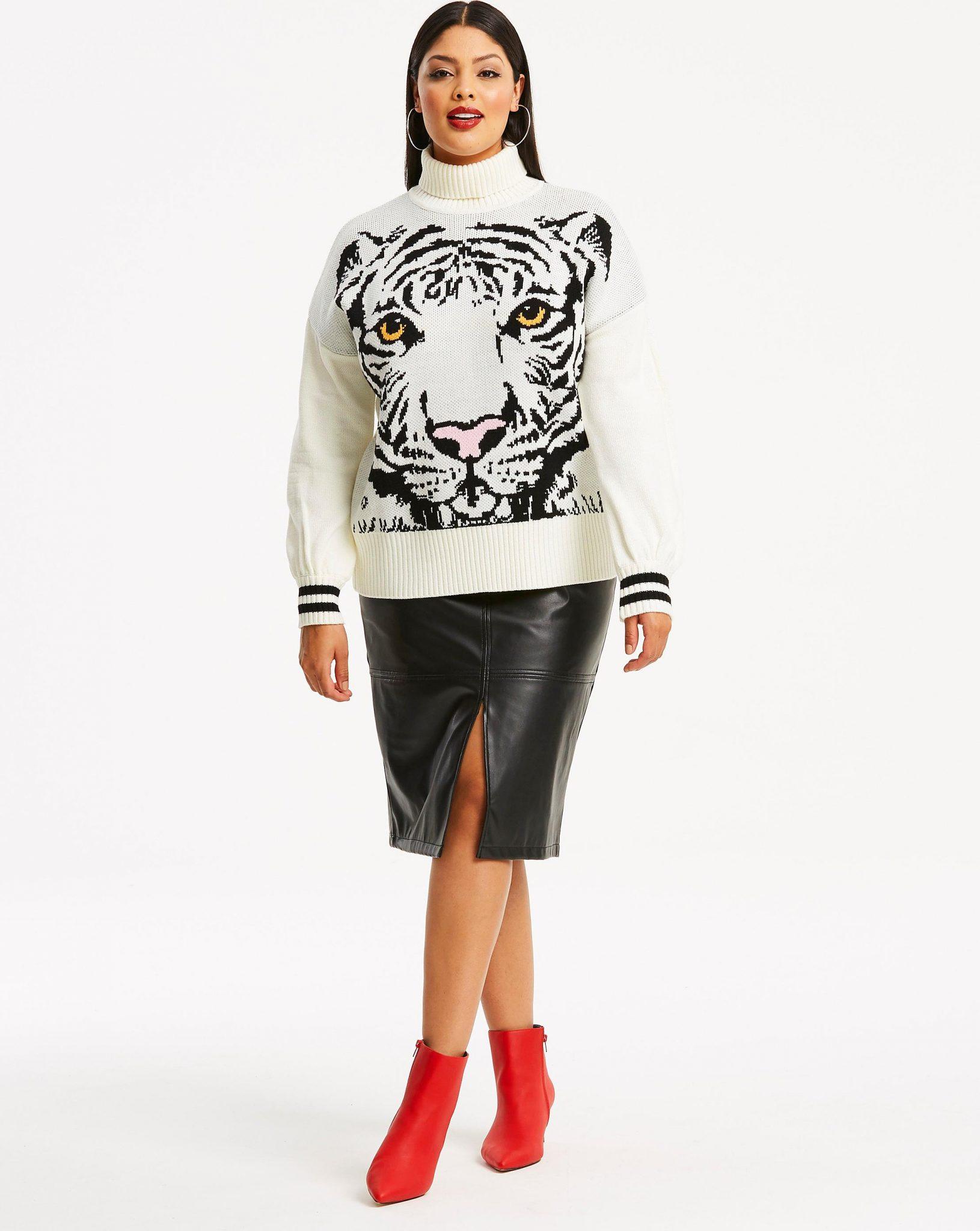 Plus Size Sweaters: Tiger Face Jacquard Sweater