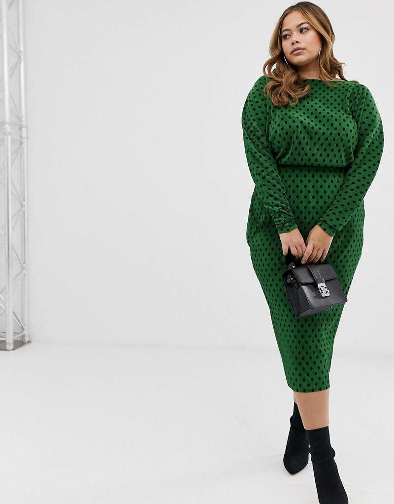 Plus Size Fashion for Women Over 40- ASOS DESIGN Curve polka dot slash neck batwing plisse midi dress